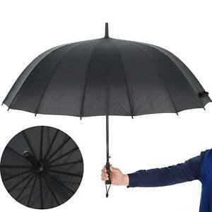 Unisex Large Golf Umbrella Windproof Canopy Rain Sun Strong Wind Shield Black UK