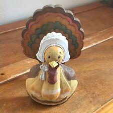 Estate Carved Wood Painted Pilgrim Turkey Thanksgiving Holiday Wooden Napkin Hol