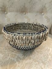 New ListingVintage Cowrie Shell African Inspired Blue Beaded Basket