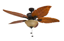 Tropical Ceiling Fan Palm Banana Leaf Oak Aged Bronze Brushed Dark Tuscan Large