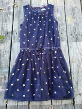 Mini Boden ~ Girls Navy Blue with Sequin Party Dress ~ Size 9-10 Flaw