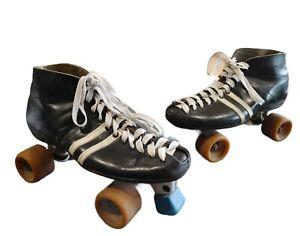 Vintage Riedell Speed/ DerbyRoller Skates Black Sz 10
