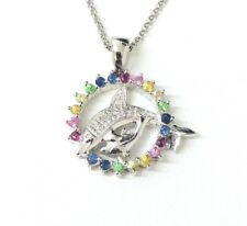 "9ct White Gold Diamond Dolphin Pendant with  16"" Chain *Brand New"