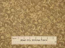 """Quilt Backing Fabric 108"""" Wide Swirl Floral Tonal # 707 Brown Cotton Fabric YARD"""