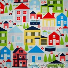 BonEful Fabric Cotton Quilt Red White Blue Flower House City Baby Girl Boy SCRAP