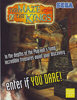 SEGA THE MAZE OF THE KINGS 2001 ORIGINAL NOS VIDEO ARCADE GAME PROMO FLYER