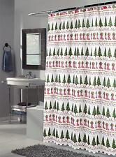 Christmas Time Fabric Shower Curtain Xmas Bath + shower hooks
