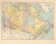 1880 VICTORIEN CARTE DOMINION DU CANADA BRITANIQUE COLOMBIE QUEBEC