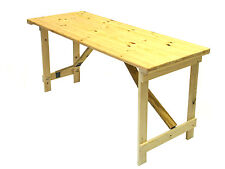 New 5' x 2' Wooden trestle table folds flat very strong