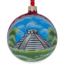 Mayan Pyramid, Mexico Glass Ball Christmas Ornament 3.25 Inches