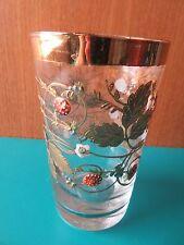 "RARE! 4.5"" CLEAR GLASS MOSER TUMBLER GOLD ENAMEL leaf strawberry BOHEMIAN CZECH"