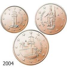1 , 2 y 5 céntimos  San Marino 2004. SC.