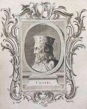 Très rare estampe originale de Clovis XVIIIe anonyme Roi France King