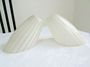 SET OF 2 GLASS CEILING LIGHT SHADES WHITE & CLEAR STRIPES SPUTNIK 60'S