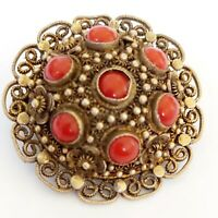 Vtg Antique Export Chinese Silver Filigree Red Coral Brooch Pin. China Export