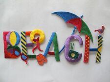 "#3448 7-7/8"" Bird,Hat,Sunglass,Ball,BEACH word Embroidery Iron On Applique Patch"