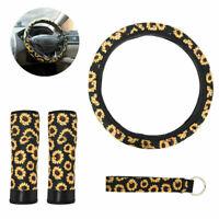 Sunflower Car Steering Wheel Cover Seat Belt Pad Keychain Accessories Universal