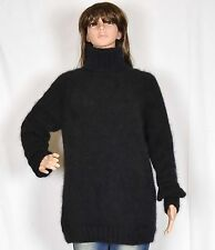 hand knit 90% ANGORA rabbit Long sweater Fuzzy SOFT Jumper Turtlenecks Pullover