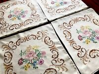Vintage Hand Embroidered Lot 4 X Matching Floral Cushion Covers 16x16 Inches