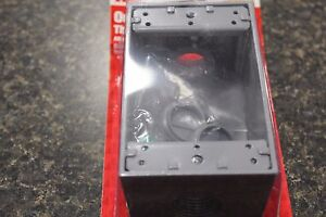 NEW 14252 ALL WEATHER OUTLET BOX THREE HOLE 3/4 IN GRAY NEW