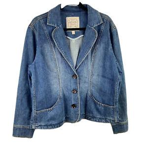 Brighton Blue Jean Jacket Size XL ? Denim  3 Button Coat 4 Heart Tag