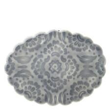 Glasuntersetzer Oval romantischer Landhaus-Stil mit Ornament in Grau