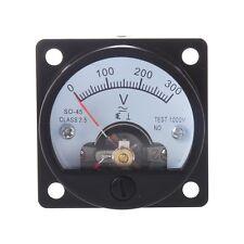 AC 0-300V Round Analog Dial Panel Meter Voltmeter Gauge Black CT