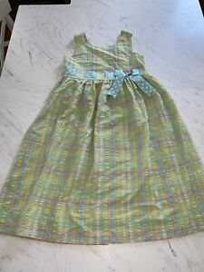Bonnie Jean Size 10 Sleeveless Green Plaid Bow Spring Summer Easter Dress