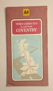Vintage Throughroutes To And From Coventry Map AA 1983 Preowned