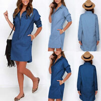 Womens Casual Lapel Blouse Ladies Long Sleeve Denim Jeans T Shirt Dress Tops New