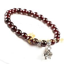 6 mm natural garnet tibet silver elephant bracelet malas buddhism
