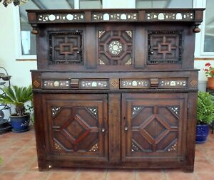 COUNTRY OAK COURT CUPBOARD 1560  FREE SHIPPING TO ENGLAND