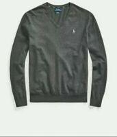 Polo Ralph Lauren Men Charcoal Gray 100% Merino Wool V-Neck Sweater Size M MSRP