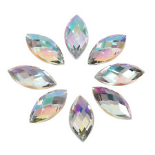 500Pcs Horse Eye 7 15mm Crystal AB Rhinestone Acrylic Strass Gems Flatback White