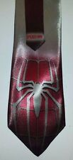 L@@K! Spiderman Red on Silver grey Satin Neck tie - Peter Parker