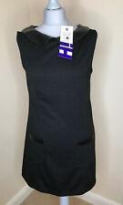 HENRY HOLLAND Dress UK12 NEW PU Peter Pan Collar Shift Vegan Leather Pockets