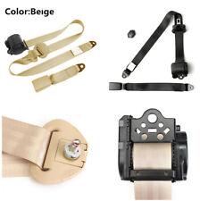 Retractable 3 Point Auto Car Safety Seat Lap Belt & Diagonal Belt Set Kit Beige