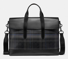 NEW Coach Men Plaid Check Leather Laptop Bag Crossbody Business Briefcase Grey