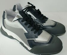 Prada Mens Nevada Bike Mesh Leather Sneakers Shoes Taupe Silver x Black 9 10 NWT