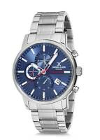 Daniel Klein 44mm Analog Mens Quartz Dual Time 24/12 Hour Silver Tone SS Watch