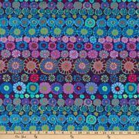 Free Spirit Kaffe Fassett Row Flowers PWGP169-Blue Cotton Fabric BTY