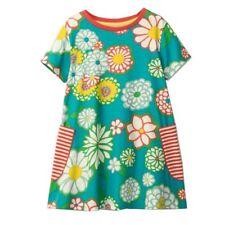 Girls Kids Childs Retro Floral T Shirt Tee Shift Dress 100% Cotton 2 3 4 5 6 Yrs