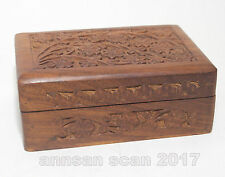 Vintage hand carved wooden trinket box floral pattern Made in India