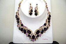 US Seller Purple & Gold Crystal Rhinestone Necklace Earring Set Bridal Wedding