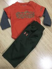Under Armour Outfit Baby Toddler Size 0-3 Months Hunting Green Orange
