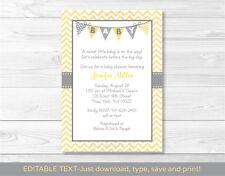 Modern Yellow Chevron Printable Baby Shower Invitation Editable PDF