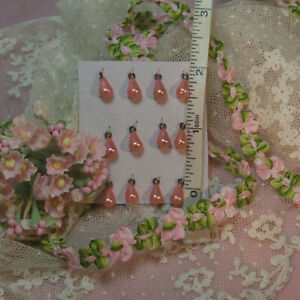 TWO vintage TINY rose pink drops as ear-rings pendant buttons for antique dolls