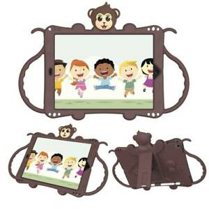 Kids Monkey Shockproof Silicone Stand Case Cover + Shoulder Strap for Apple iPad