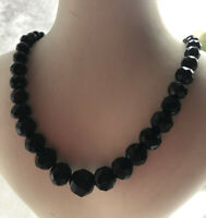 Black Glass Necklace French Jet 1930s Mourning Graded Faceted Vintage Retro Old