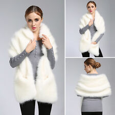 Fashion Women's Winter Top Faux Fox Fur Scarf White Shawl  Warm Collar Coat Wrap